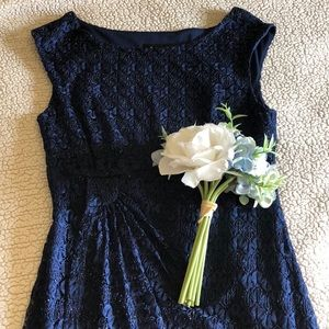 Navy blue cocktail dress with lace and sparkle